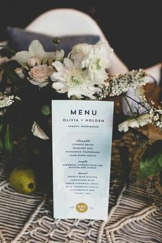 wedding menu card idea; photo: Jason Wasinger Photography