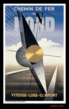 A.M. Cassandre draws a strong parallel between Art Deco and Futurism in this poster for manufacturer Nord Aviation.