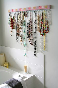 I have so many necklaces thrown around my room...I' need to make a few of these... Necklace Hanger, Jewelry Hanger, Closet Organization, Jewelry Organization, Organization Station, Jewellery Storage, Jewellery Display, Crafty Craft, Crafts To Do