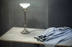 Industrial Table Torch Milk Glass Lamp : Factory 20