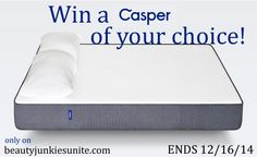 One (1) winner will receive: a Casper Mattress in their choice of size; Twin, Twin XL, Full, Queen, King, or CA King. (Retail prices vary from $500, to $950 depending on the size.)