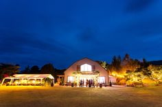 stunning at night @ The Lookout Lodge Lodge Wedding, Wedding Venues, Mansions, Night, House Styles, Home Decor, Wedding Reception Venues, Wedding Places, Decoration Home