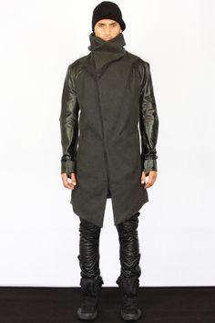 Boris Bidjan Saberi |Leather Sleeve Trench Coat.