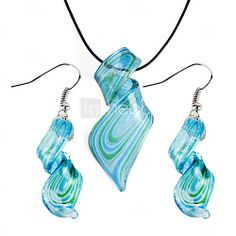 [EUR € 2.47] Rationaliser motif coloré de lustre bleu Vaidurya collier et boucles d'oreilles