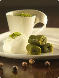 Turkish dessert  Pistachio Twist. This might be one of my all time favourite desserts. Served with traditional Turkish vanilla ice cream, this tastes like heaven.