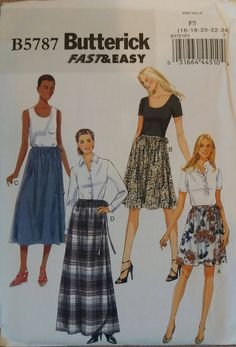 5d1fba2c6b030 Butterick B 5787 Misses Skirts Wrap Skirts Size 8 10 12 14 16 Sewing  Pattern Factory Folded Uncut by makersmartfinds on Etsy
