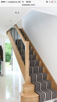 Terrific Absolutely Free Carpet Stairs stripy Thoughts One of the fastest ways t Modern Staircase Absolutely Carpet fastest Free Stairs stripy Terrific thoughts ways Timber Staircase, Staircase Runner, Oak Stairs, Stair Handrail, Wooden Staircases, Wooden Stairs, Modern Staircase, House Stairs, Carpet Stairs