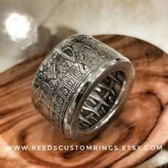 "Antiqued Silver ""Predatory World"" Ring - Hand Forged Pure Silver Coin Ring @ www.reedscustomrings.etsy.com #silver #silverrings #pirate #bullion #coinring #piecesofeight #teamlove #silverjewelry #edcgear #edc #usmcvet #repurposed #upcycle #unisexfashion #mensjewelry #mensfashion #womensjewelry #womensfashion #badassery #piratering #predatoryworld #sailor #nautical #reedscustomrings #mensrings #womensrings Coin Jewelry, Jewlery, Army Rings, Eagle Ring, Mens Silver Jewelry, Coin Ring, Rings Cool, Gold Accessories, Argent Sterling"