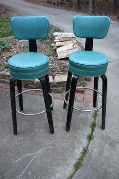 Teal Blue and Black Thonet Art Deco Swivel Bar Stools on Etsy, $600.00