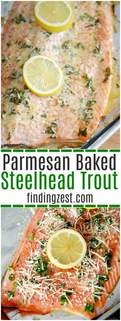 Parmesan Baked Steelhead Trout This baked steelhead trout recipe is an easy dinner option and a great alternative to salmon! Loaded with fresh Parmesan cheese, fresh parsley, lemon and garlic, it is sure to become one of your favorite baked fish recipes! Steelhead Trout Recipe Baked, Baked Trout, Baked Fish, Best Trout Recipe, Breakfast Recipes, Dinner Recipes, Paleo Dinner, Yummy Recipes, Keto Recipes