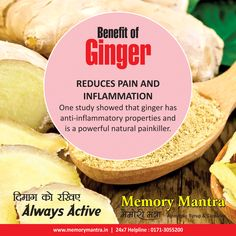 ‪#‎Benefit‬ Of ‪#‎Ginger‬  Memory Mantra Health Tips . ‪#‎Stayhealthywithayurveda‬  Comment, like & Share the Health Tips with everyone. ‪#‎MemoryMantra‬ Helps for ‪#‎Antistress‬, Loss of ‪#‎memory‬, Improves ‪#‎graspingpower‬, reduces ‪#‎depression‬, ‪#‎anxiety‬. www.memorymantra.in 24X7 Helpline 0171-3055200