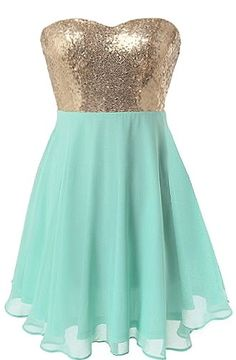 Spearmint Sparkle Dress: Features a super feminine sweetheart neckline, glittering gold sequin bodice, vibrant mint green bottom for pop, and a beautifully gathered chiffon skirt to finish.