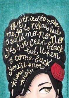 Rehab Amy Winehouse Typography Lyrics Poster Soul por DrawMeASong