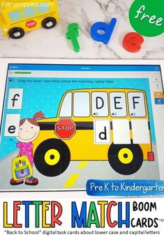 These letter recognition digital task cards help kids match lower case letters to capital letters. Great for Preschool or Kindergarten math centers. #digitallearning #boomcards #letterrecognition #distancelearning #preschool #prek #kindergartenliteracy #alphabetactivities #letteridentification Back To School Activities, Alphabet Activities, Hands On Activities, Literacy Activities, Early Literacy, Kindergarten Activities, Phonics Centers, Letter Matching, Teaching The Alphabet