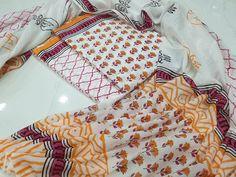 Cotton mulmul dupatta  Free shipping & COD  whatsapp 7413976951 Salwar Pants, Cotton Salwar Kameez, Suits For Sale, Suits For Women, Chinese Collar, Kurti Neck, Wrap Around Skirt, Batik Prints, Cotton Suit