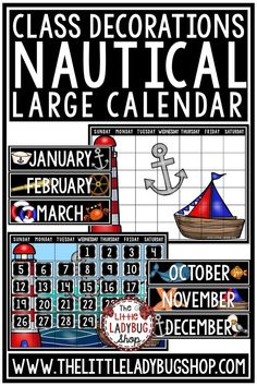 You will love this Nautical Theme Calendar Class Decor Bundle. It has everything you need to have a complete calendar set up for your bulletin board! Just print and go, or have professionally printed! Either way you will love this gorgeous calendar! #nauticaltheme #nauticalclasroomdecor
