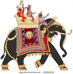 stock vector : Vector illustration of a decorated indian elephant