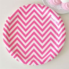Gorgeous Hot Pink Chevron Party Plate
