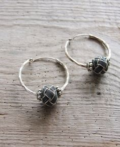 Sterling Silver Hoop Earrings Hand knotted by StaroftheEast Sterling Silver Hoops, Silver Hoop Earrings, Dangle Earrings, Prayer Beads, Wire Wrapping, Dangles, Jewelry Making, Handmade, Accessories