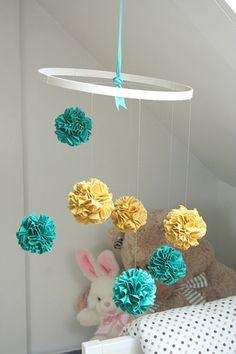 Bright DIY Fabric Pom Pom Baby Crib Mobile To Make | Kidsomania