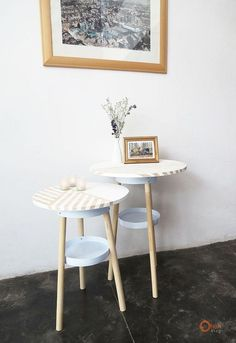 Chic glam side tables made from paint buckets.  Talk about an awesome DIY!