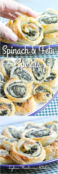 healthy meals food recipes diiner cooking Spinach and Feta Spirals ~ Lydias Flexitarian Kitchen Clean Eating Snacks, Healthy Snacks, Healthy Eating, Healthy Easy Food, Best Appetizers, Appetizer Recipes, Delicious Appetizers, Freezable Appetizers, Avacado Appetizers