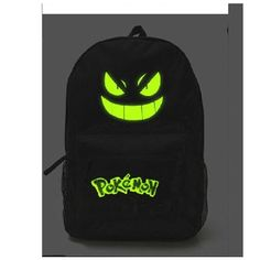 Pokemon Backpack Noctilucence Gengar Face School Bag Black Backpack... ($21) ❤ liked on Polyvore featuring bags