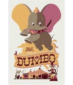 Dumbo poster by Tom Whalen for Mondo Tees.