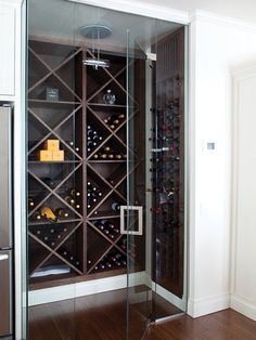 Basement - Walk-In Wine cellar (photo monic richard, design scott yetman, via house & home Home Wine Cellars, Wine Cellar Design, Wine Wall, Wine Storage, Storage Ideas, Kitchen Storage, Wine Shelves, Shelving, Wine Cabinets