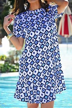 Farrah Flounce Dress, Navy Ikat