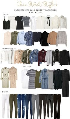 The Ultimate Capsule Closet Checklist. Chic street style. White blouse, olive green jeans, leather or suede jacket, light khaki or cream trench coat, chambray shirt, destroyed denim jeans.