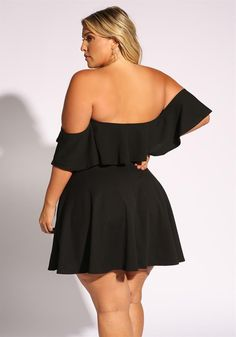 Plus Size Clothing | Plus Size Off Shoulder Ruffle Flared Dress | Debshops