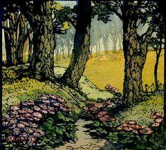 ✨  Frances Hammell Gearhart (1869-1958), Colour Woodcut 1930