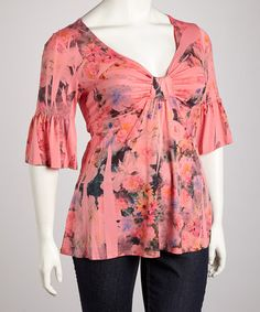 Take a look at this Coral Floral Sublimation Three-Quarter Sleeve Top - Plus by Yummy on #zulily today!