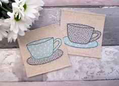 Coaster Set, Cup Coasters, Fabric Coasters, Housewarming Gift, Modern Decor, Hostess Gift, Beverage Coasters, Table Mats, Drink Coasters by TheCornishCoasterCo on Etsy