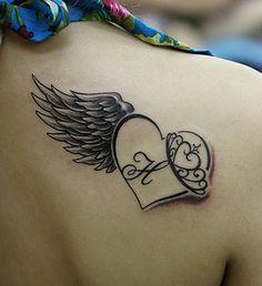 heart with angel wings tattoo   Tattoo Borboleta: Heart Wing Tattoo Design on Girls