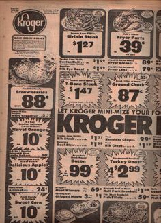 Kroger's Grocery Store Ad 1975 - Boy, I'd love to see those prices these days. :)