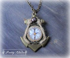 Anchor handmade necklace,  compass pendant, anchor pendant, unique gift, unique jewelry, marine necklace by PrettyClaire on Etsy Handmade Necklaces, Handmade Gifts, Pocket Watch, Etsy, Trending Outfits, Pendant, Unique Jewelry, Accessories, Vintage