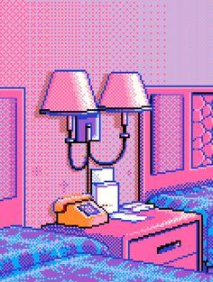 Pixel art: hotel nightstand