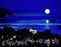 山形博導(ヒロ・ヤマガタ)「ブルーレイク ロマンス〜琵琶湖(日本のエッセンス)」シルクスクリーン