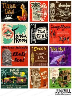"★★★ INSTANT DOWNLOAD ★★★ Inspired by 1950s and 1960s matchbook covers, these images offer a touch of Exotica for your next project. Each image has been artfully restored and formatted for exceptional home printing. IMAGE SIZE: Smallest 2.25 x 2, Largest 2.25 x 3 PRINT SIZE: Prints on 8.5"" x 11"" (size A4) paper. CHECK OUT our other set of TIKI Images: www.etsy.com/listing/241448098 INSTANT DOWNLOADS: Once checkout is complete and payment is confirmed, you will have instant acces..."