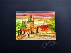 Romantic Prague Lasser town and Charles bridge in sunset Original cityscape watercolor painting, architecture