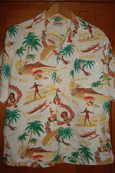 Mens Vintage 40s Waikiki Kasuals Rayon Hawaiian Aloha Shirt M