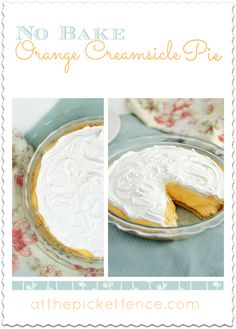 This No Bake Orange Creamsicle Pie will bring back memories of the ice cream truck and summer! via www.atthepicketfence.com