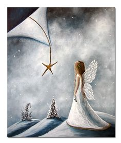 CHRISTMAS ANGEL fairy ART Print by erback beautiful white faery wings star snow 5x7 Holiday Decor. $15.00, via Etsy.