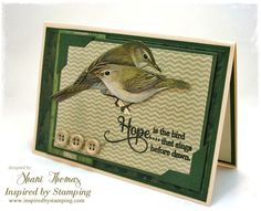 A collection of vintage images and papers, plus stamps from Inspired by Stamping's Background Basics II, Big Hope, Washi Tape and Big Notes sets, were used in the creation of this vintage look greeting card.