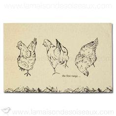 Torchon coton et lin imprimé poules - Madeleine Floyd