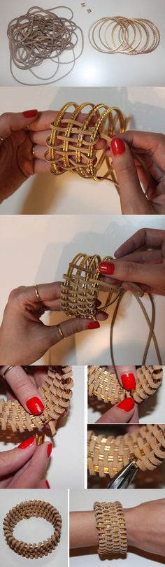 Bangles wrapped in leather for a muted gold glow cuff  http://tech.beads.us/data/html/en/Bangle-Bracelet.html
