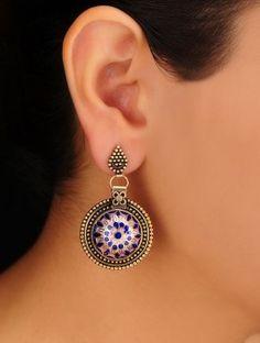 Purple Ethno Sterling Silver Earrings