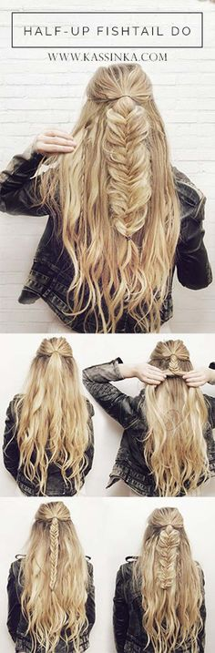 Best Hair Braiding Tutorials - Half-Up Fishtail Tutorial - Easy Step by Step Tutorials for Braids - How To Braid Fishtail, French Braids, Flower Crown, Side Braids, Cornrows, Updos - Cool Braided Hairstyles for Girls, Teens and Women - School, Day and Evening, Boho, Casual and Formal Looks http://diyprojectsforteens.com/hair-braiding-tutorials